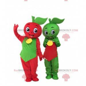 2 maskotter med grønne og røde æbler, æblekostumer -
