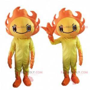 Mascota del sol amarillo y naranja, traje soleado -