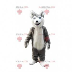Grijze en witte husky mascotte, kostuum harige wolf hond -