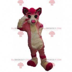 Mascote de cachorro rosa, fantasia de cadela de pelúcia -