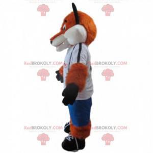 Mascote raposa laranja e branca em roupas esportivas -