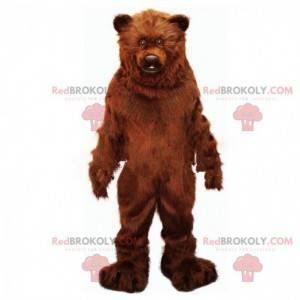 Mascotte grande orso bruno, peloso e impressionante -