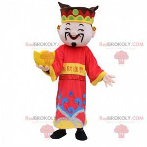 Mascotte uomo asiatico, dio della ricchezza, costume asiatico -