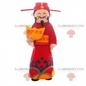 Aziatische man mascotte, god van de rijkdom, Aziatisch kostuum