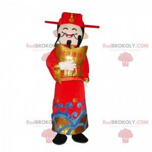 Asiatisk mand maskot, rigdomens gud, asiatisk kostume -