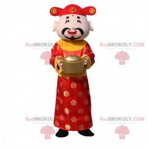 Mascotte van de god van de rijkdom, kostuum Aziatische man -