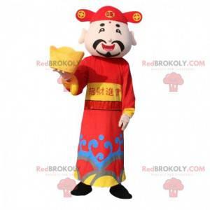 Asiatisk mann maskot, gud av rikdom, asiatisk drakt -