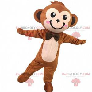 Mascota mono marrón lindo y elegante, traje de mono -