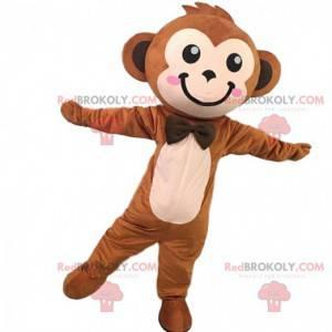Mascotte scimmia marrone carino ed elegante, costume da scimmia