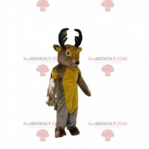 Mascote de cervo cinza e amarelo com chifres grandes -