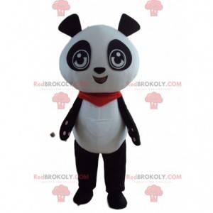 Mascota panda blanco y negro con un pañuelo rojo -