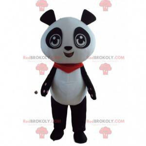Mascote do panda preto e branco com uma bandana vermelha -