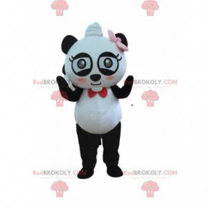 Mascote panda muito divertido com gravata borboleta -