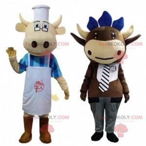 2 mascotte di mucca vestite, costumi da fattoria -