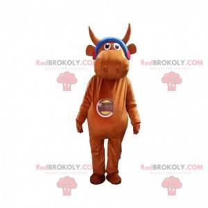 Mascote da vaca marrom com fones de ouvido, fantasia de touro -