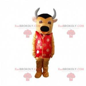 Mascote touro amarelo e preto com roupa asiática vermelha -