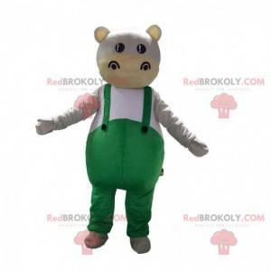 Flodhestmaskot klædt i grøn overalls - Redbrokoly.com