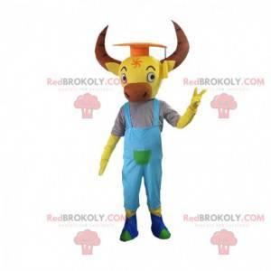 Mascotte di bufalo giallo con grandi corna e tuta -