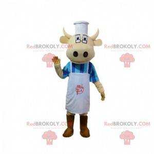 Koe mascotte verkleed als chef-kok, kokkostuum - Redbrokoly.com