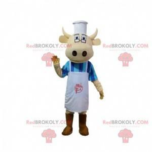 Mascote da vaca vestida de chef, fantasia de cozinheiro -