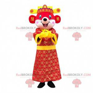 Red mouse mascot dressed in colorful Asian outfit -