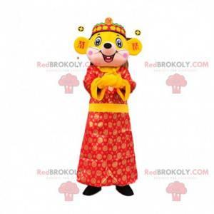 Mascote rato amarelo gigante com vestido asiático -