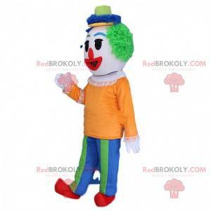 Mascotte pagliaccio multicolore con una parrucca verde -