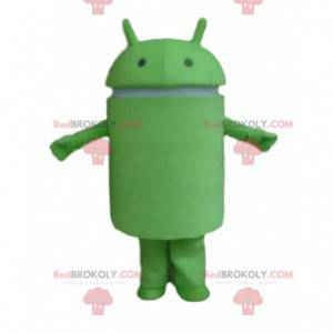 Android mascot, green robot costume, mobile phone disguise -