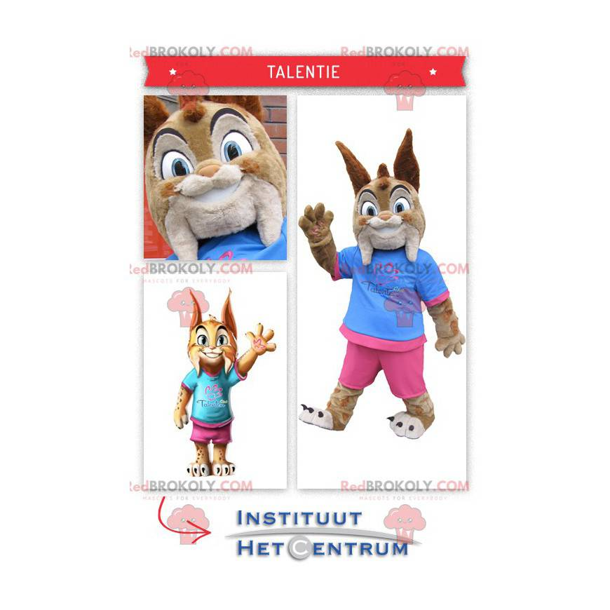 Mascot cute little lynx dressed in pink and blue -