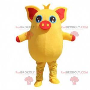 Maskot žluté a červené prase, baculaté a zábavné -