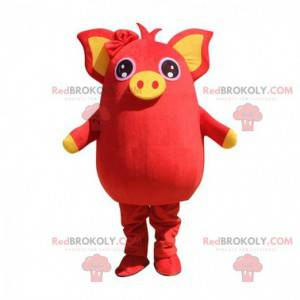 Red and yellow pig mascot, plump and entertaining -