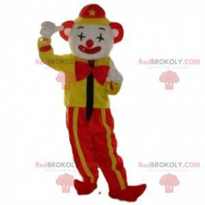 Mascotte pagliaccio giallo e rosso, mascotte del circo -