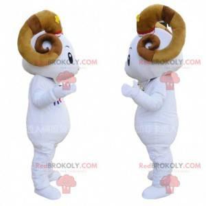 Mascotte di capra, costume da ariete gigante con grandi corna -