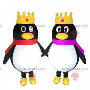 2 mascotas de pingüinos con coronas, pareja de pingüinos -