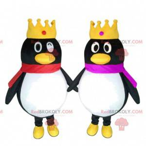 2 mascotes pinguins com coroas, casal de pinguins -