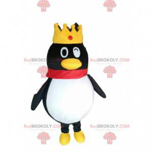 Mascota del pingüino rey guiñando un ojo, disfraz coronado -