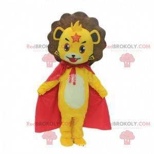 Mascote leãozinho amarelo com capa, fantasia de filhote de leão