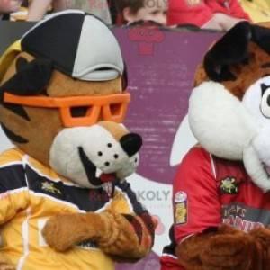2 bruine en witte tijger mascottes - Redbrokoly.com