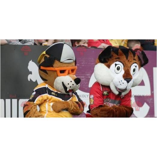 2 braune und weiße Tiger Maskottchen - Redbrokoly.com