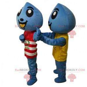 2 maskotter af blå dråber, kostumer af kæmpe dråber -