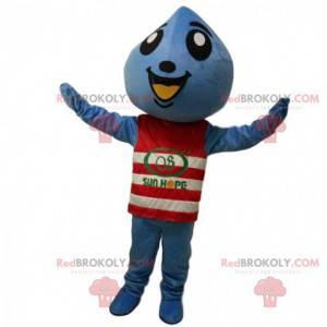 Mascota gota azul con un suéter de rayas rojas y blancas -
