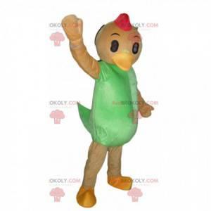 Mascotte di pollo, costume da anatra arancione e verde, gigante