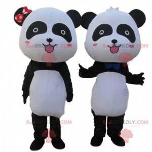 2 mascotes panda preto e branco, casal de pandas -