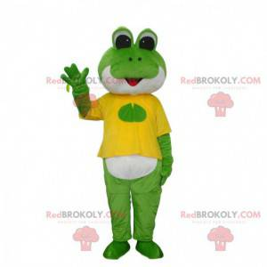 Zelená a bílá žába maskot oblečený ve žluté barvě -
