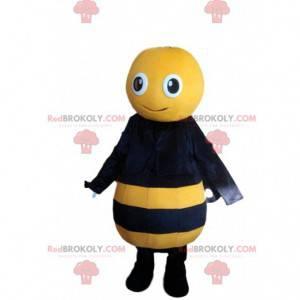 Mascota de abeja amarilla y negra, disfraz de avispa sonriente