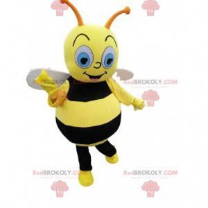 Zwart en geel bijenmascotte, kostuum met vliegende insecten -