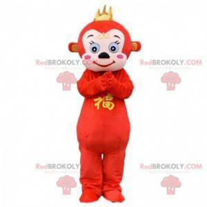 Pluszowa czerwona małpa maskotka, kostium pazurczatka -