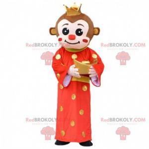 Macaco mascote em traje asiático, traje de sinal chinês -