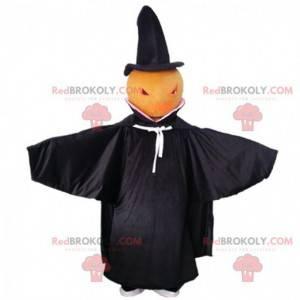 Mascote abóbora com capa preta, fantasia de Halloween -