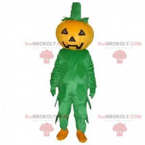 Oranje en groene pompoenmascotte, pompoenkostuum -